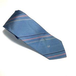 Christian Dior Blue Tie - Pink&Grey Stripe 56Lx3W